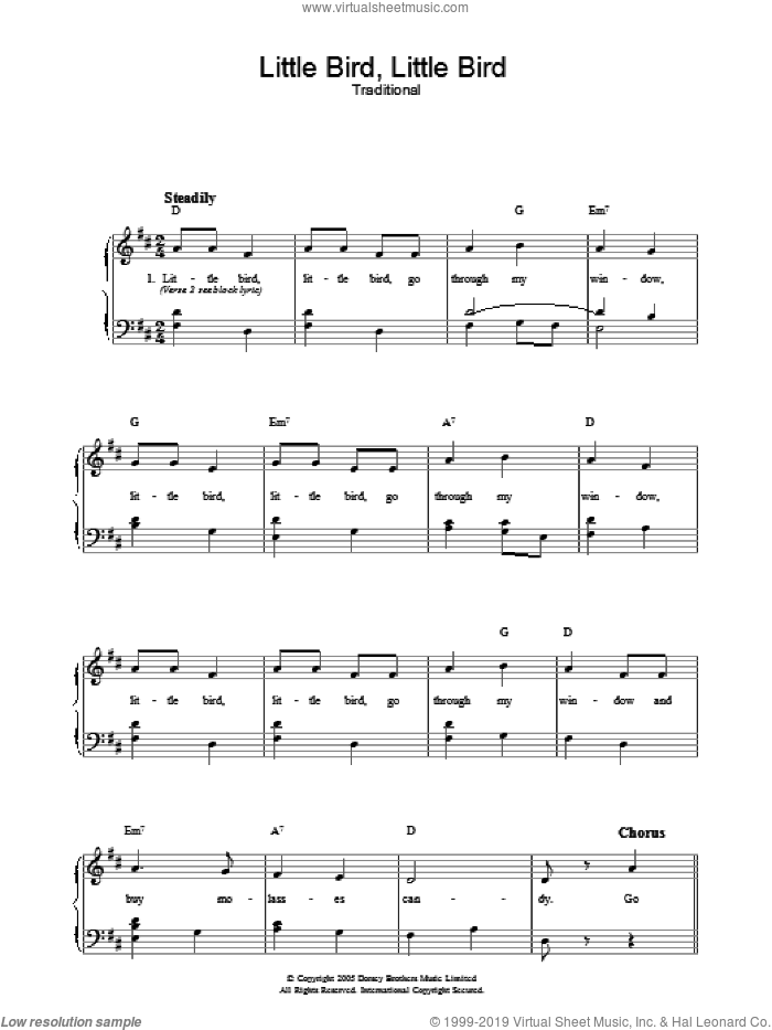 Little Bird, Little Bird sheet music for voice, piano or guitar. Score Image Preview.