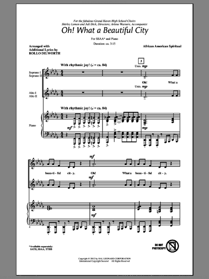 Oh, What A Beautiful City sheet music for choir and piano (SSA)  and Rollo Dilworth. Score Image Preview.