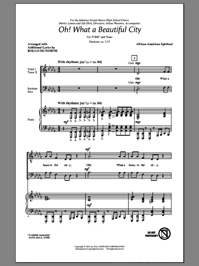 Oh, What A Beautiful City sheet music for choir (TTBB: tenor, bass) by Rollo Dilworth and Miscellaneous, intermediate. Score Image Preview.