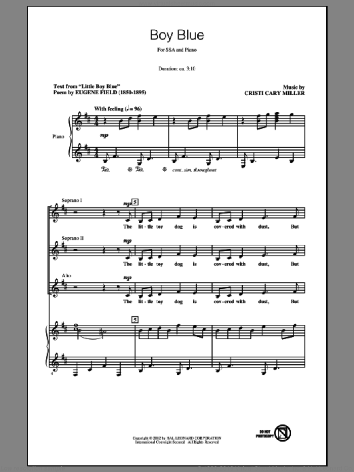 Boy Blue sheet music for choir (soprano voice, alto voice, choir) by Cristi Cary Miller, intermediate choir (soprano voice, alto voice, choir). Score Image Preview.