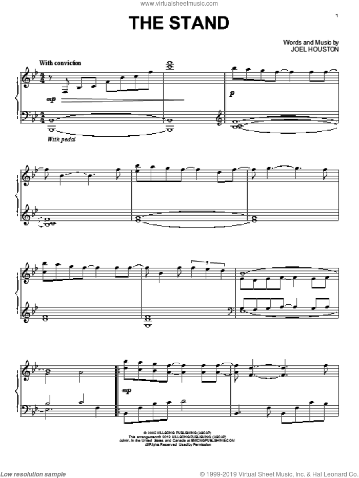 The Stand sheet music for piano solo by Hillsong United and Joel Houston, intermediate skill level