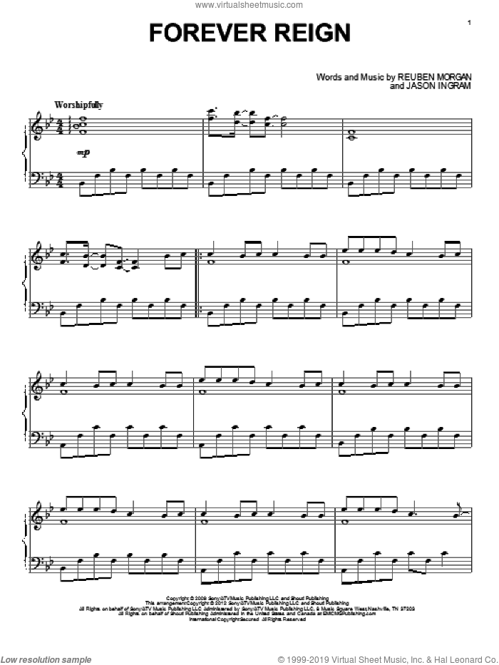 Forever Reign sheet music for piano solo by Hillsong United, Jason Ingram and Reuben Morgan, intermediate piano. Score Image Preview.