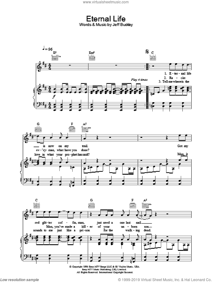 Eternal Life sheet music for voice, piano or guitar by Jeff Buckley