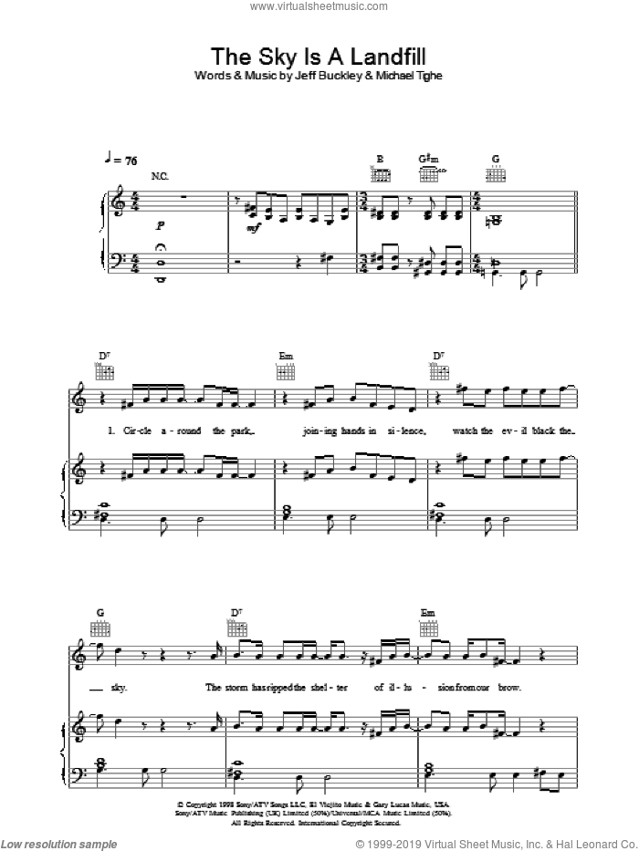 The Sky Is A Landfill sheet music for voice, piano or guitar by Michael Tighe and Jeff Buckley. Score Image Preview.