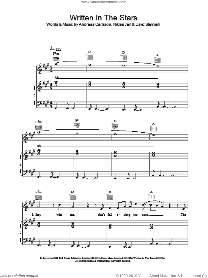 Written In The Stars sheet music for voice, piano or guitar by Niklas Jarl, Westlife and Andreas Carlsson. Score Image Preview.