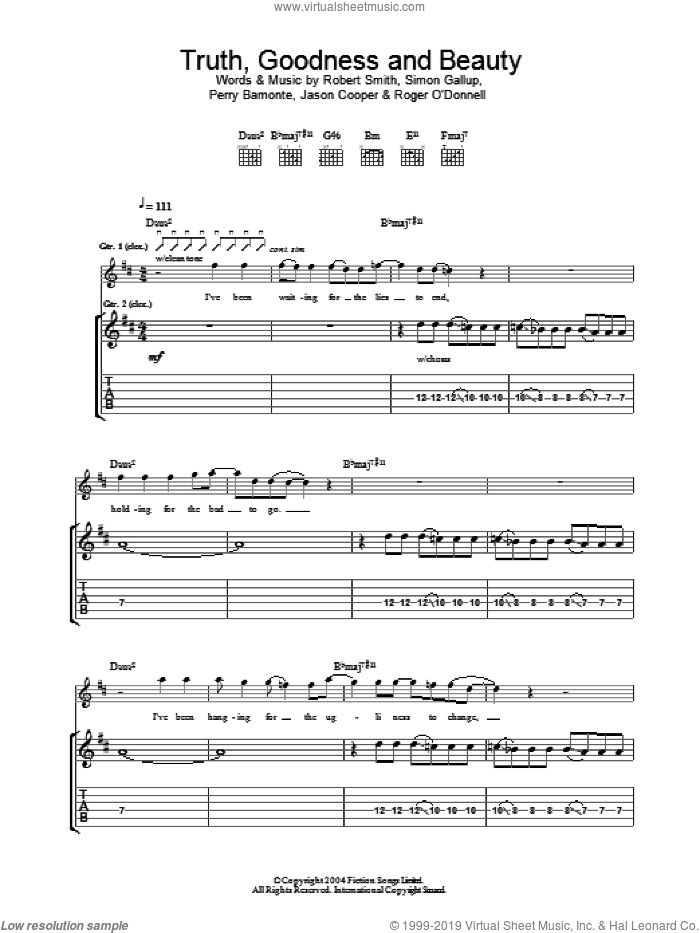Truth, Goodness And Beauty sheet music for guitar (tablature) by Simon Gallup, The Cure, Jason Cooper, Perry Bamonte and Robert Smith. Score Image Preview.