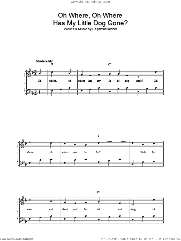 Oh Where, Oh Where Has My Little Dog Gone? sheet music for voice, piano or guitar by Septimus Winner and Miscellaneous, intermediate skill level