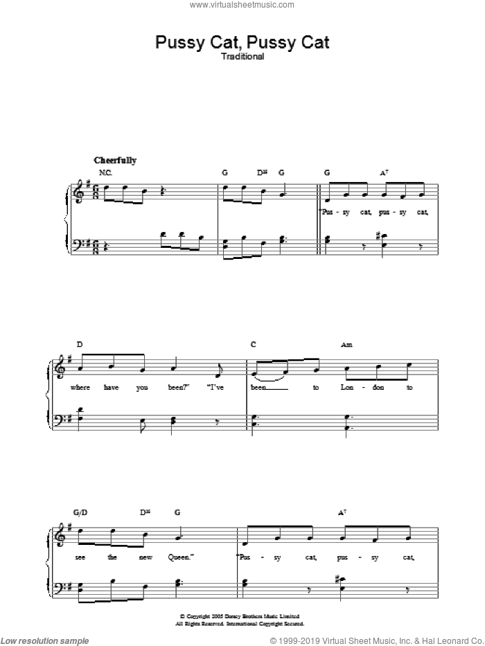 Pussy Cat, Pussy Cat sheet music for voice, piano or guitar