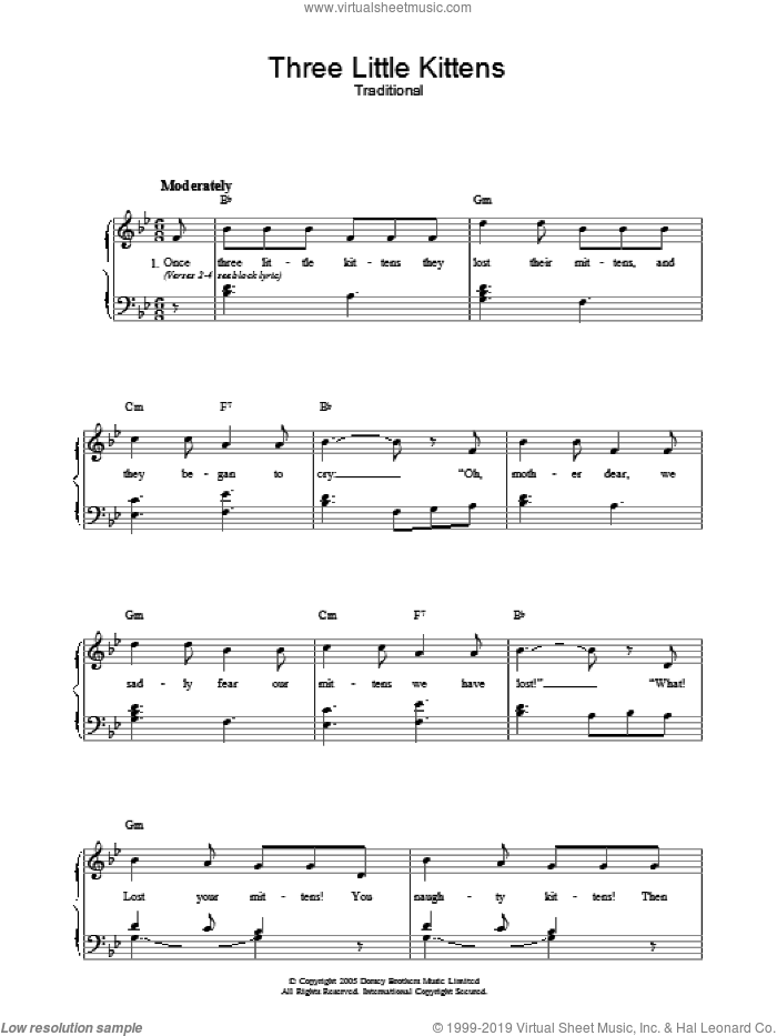 Three Little Kittens sheet music for voice, piano or guitar. Score Image Preview.