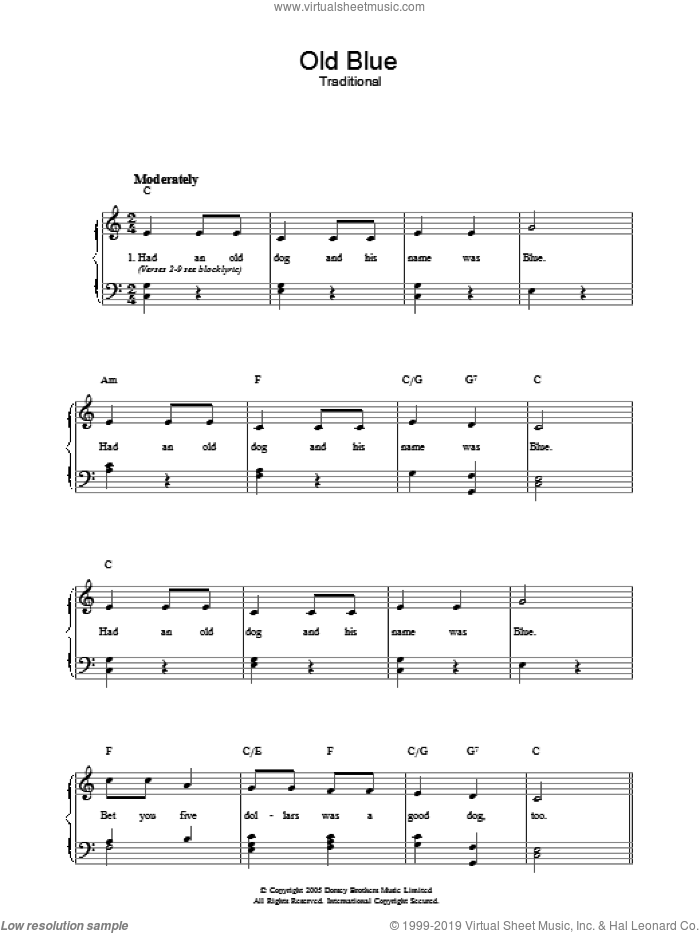 Old Blue sheet music for voice, piano or guitar, intermediate