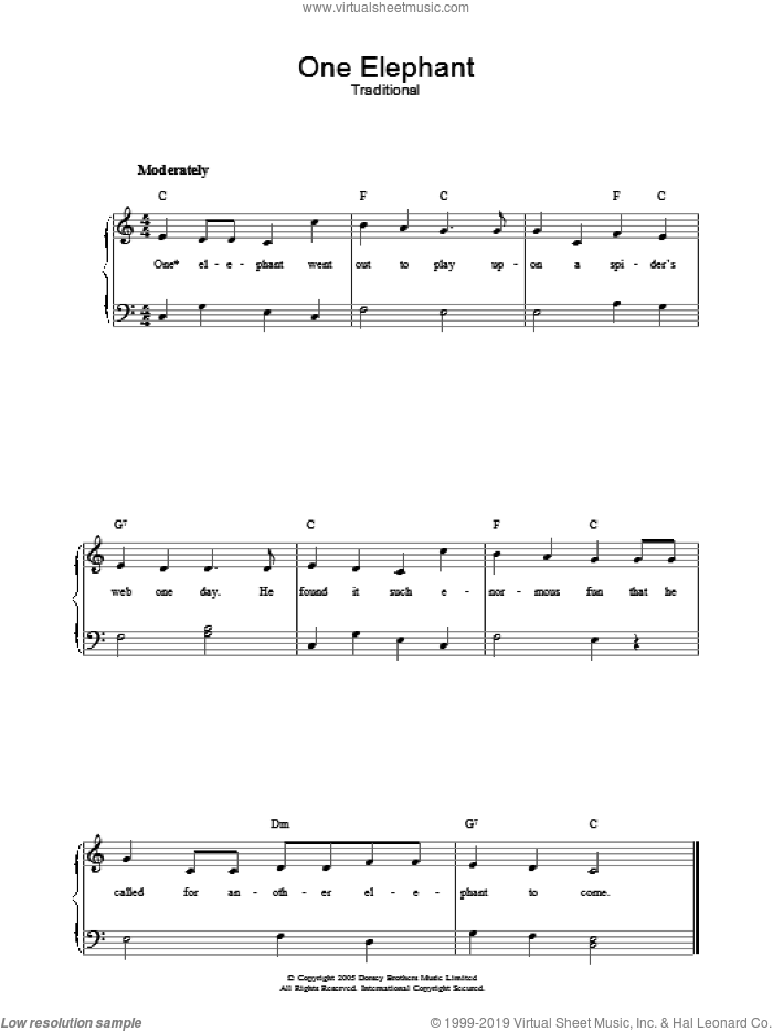One Elephant sheet music for voice, piano or guitar. Score Image Preview.