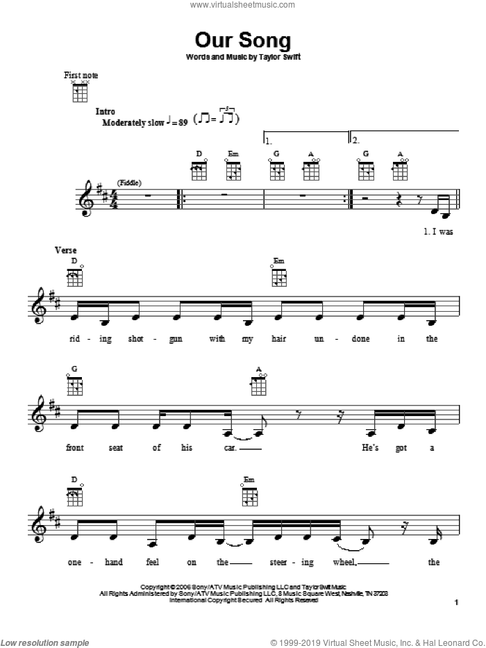 Our Song sheet music for ukulele by Taylor Swift, intermediate skill level
