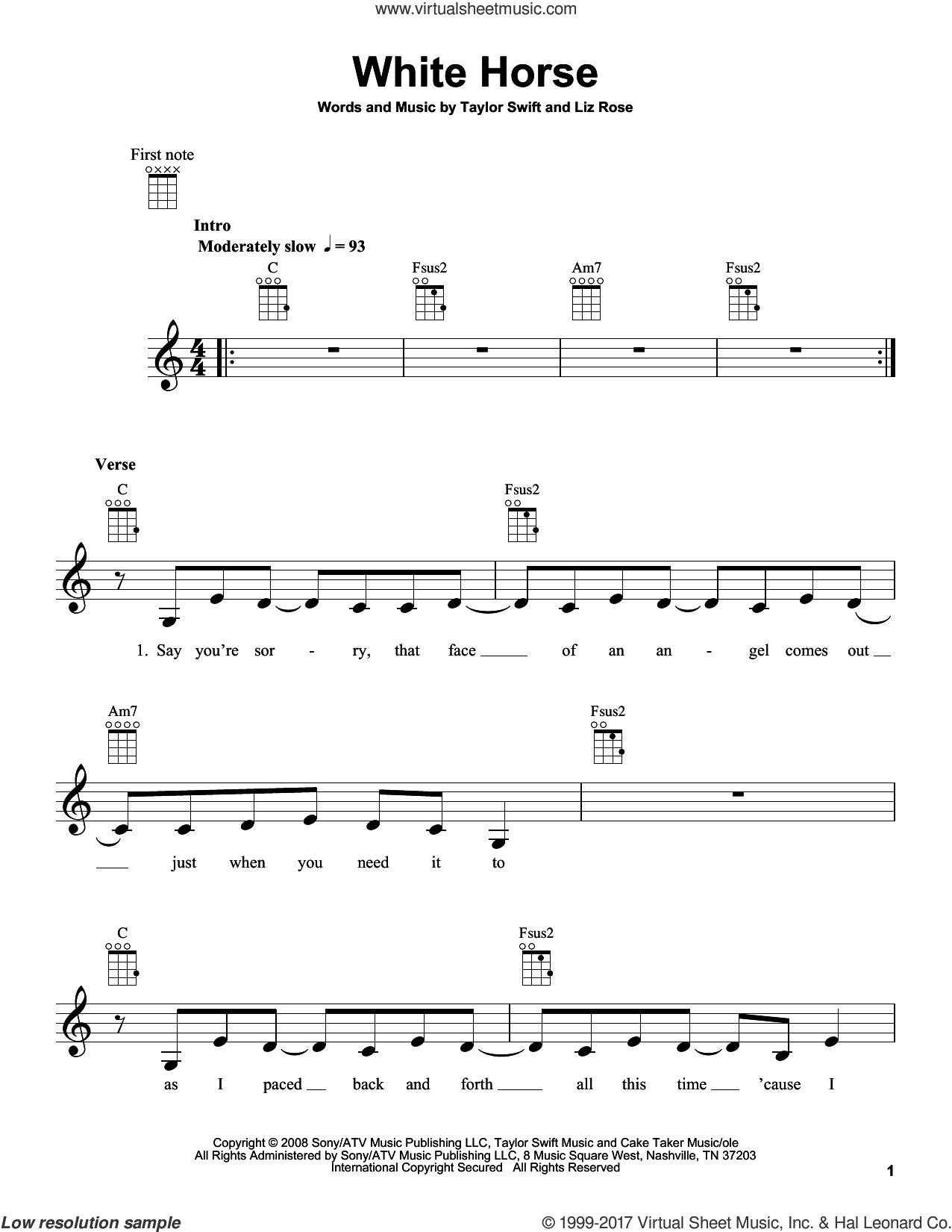 White Horse sheet music for ukulele by Taylor Swift and Liz Rose, intermediate skill level