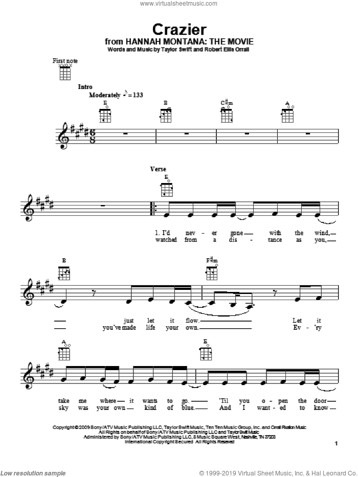 Crazier sheet music for ukulele by Robert Ellis Orrall and Taylor Swift. Score Image Preview.