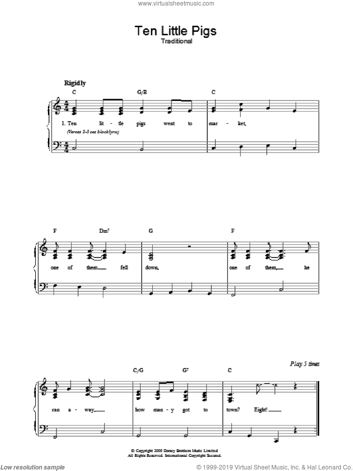 Ten Little Pigs sheet music for piano solo, easy skill level