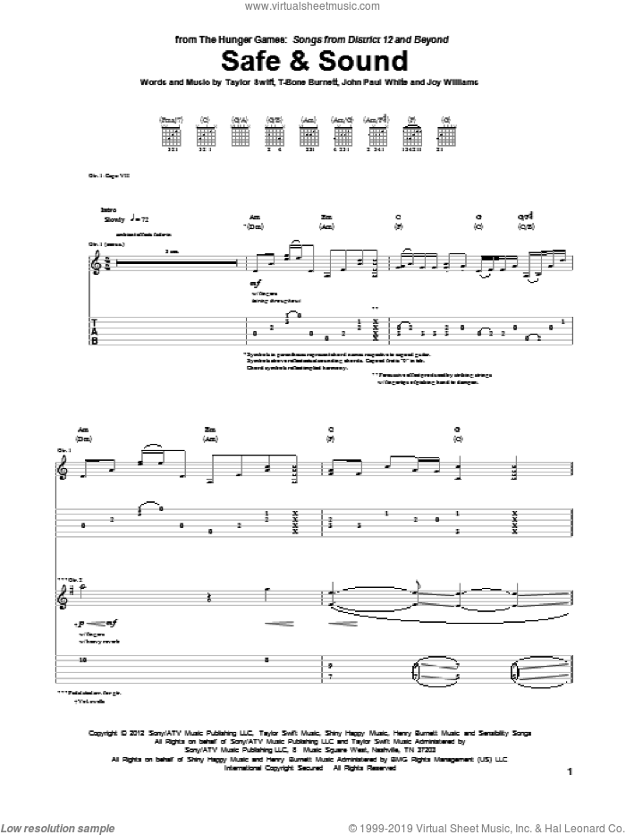 Safe And Sound sheet music for guitar (tablature) by T-Bone Burnett