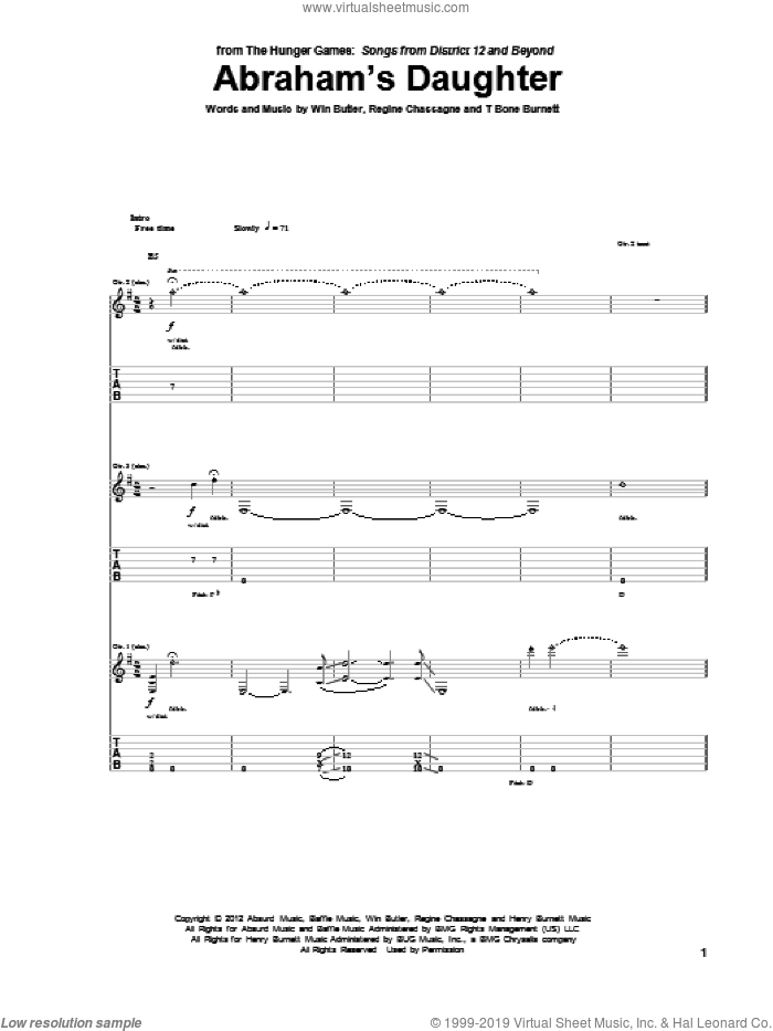 Abraham's Daughter sheet music for guitar (tablature) by Arcade Fire