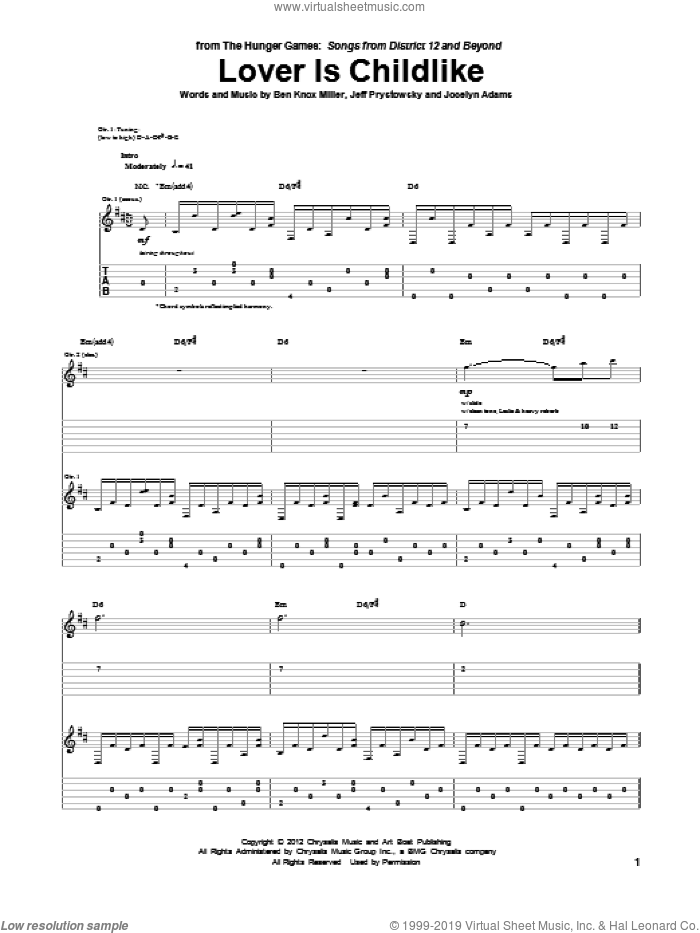 Lover Is Childlike sheet music for guitar (tablature) by The Low Anthem. Score Image Preview.