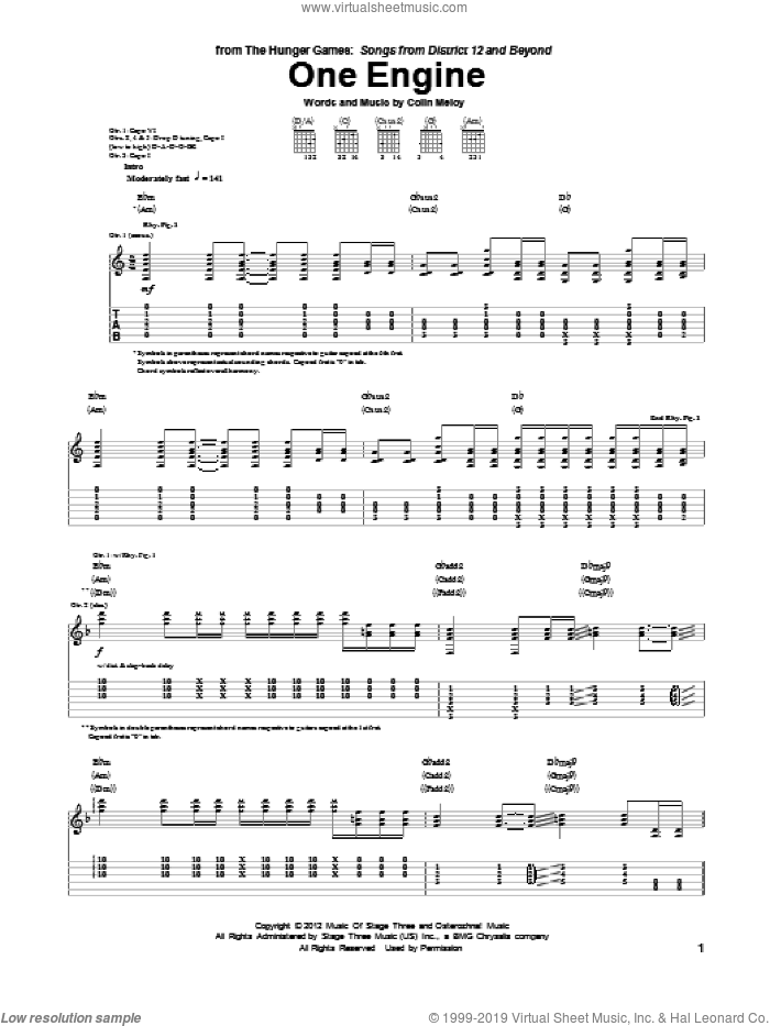 One Engine sheet music for guitar (tablature) by Colin Meloy. Score Image Preview.