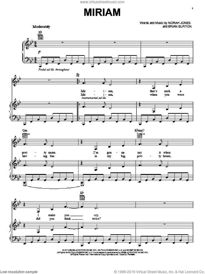 Miriam sheet music for voice, piano or guitar by Norah Jones and Brian Burton, intermediate skill level