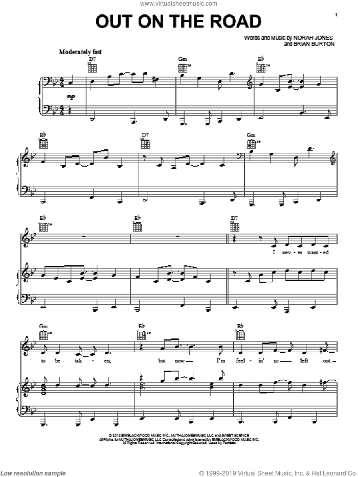 Out On The Road sheet music for voice, piano or guitar by Brian Burton and Norah Jones. Score Image Preview.