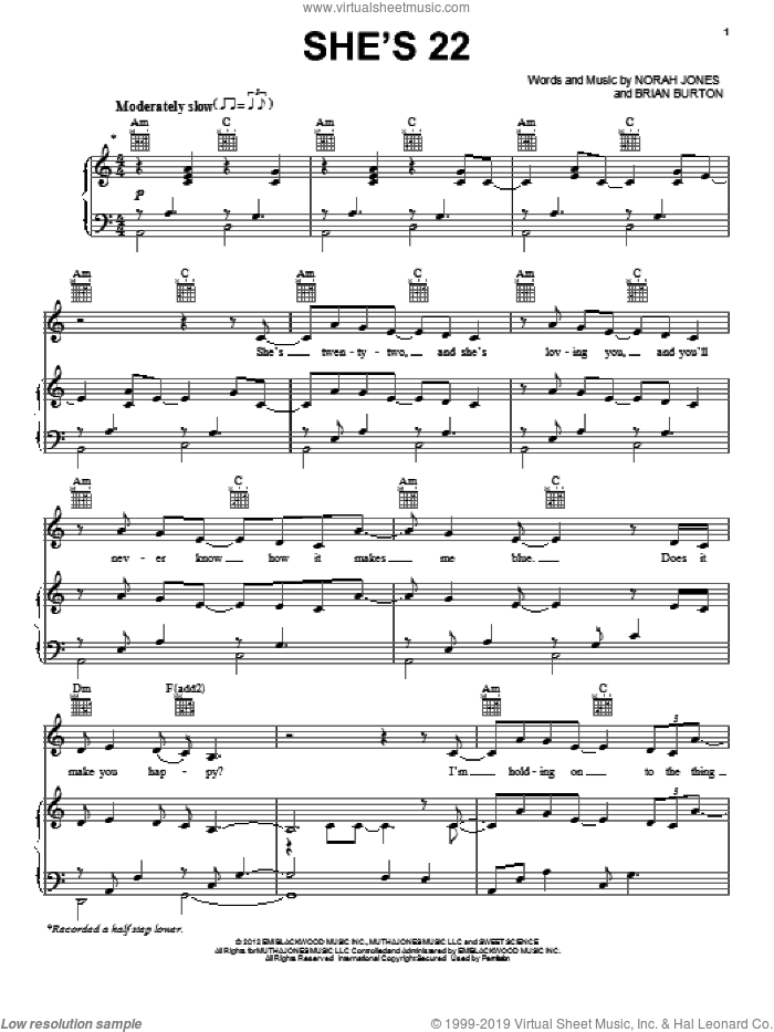 She's 22 sheet music for voice, piano or guitar by Brian Burton and Norah Jones. Score Image Preview.