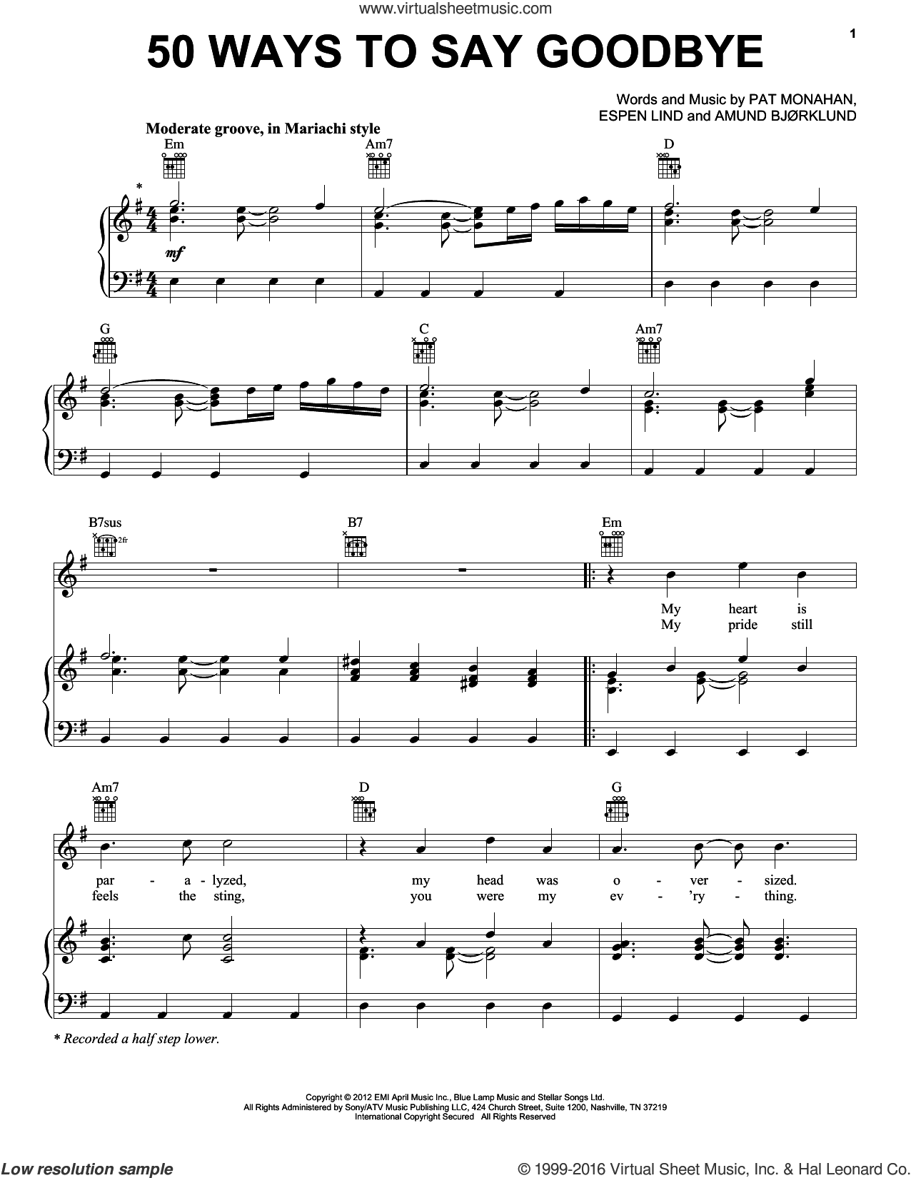50 Ways To Say Goodbye sheet music for voice, piano or guitar by Pat Monahan, Amund Bjorklund and Train. Score Image Preview.