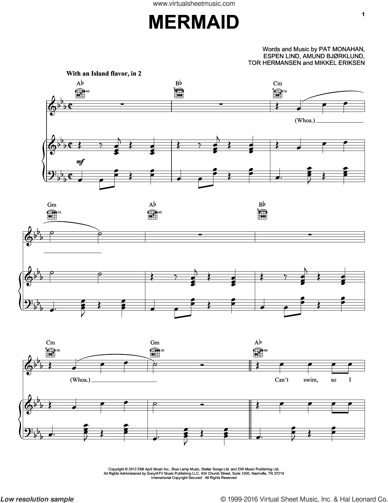 Mermaid sheet music for voice, piano or guitar by Tor Erik Hermansen