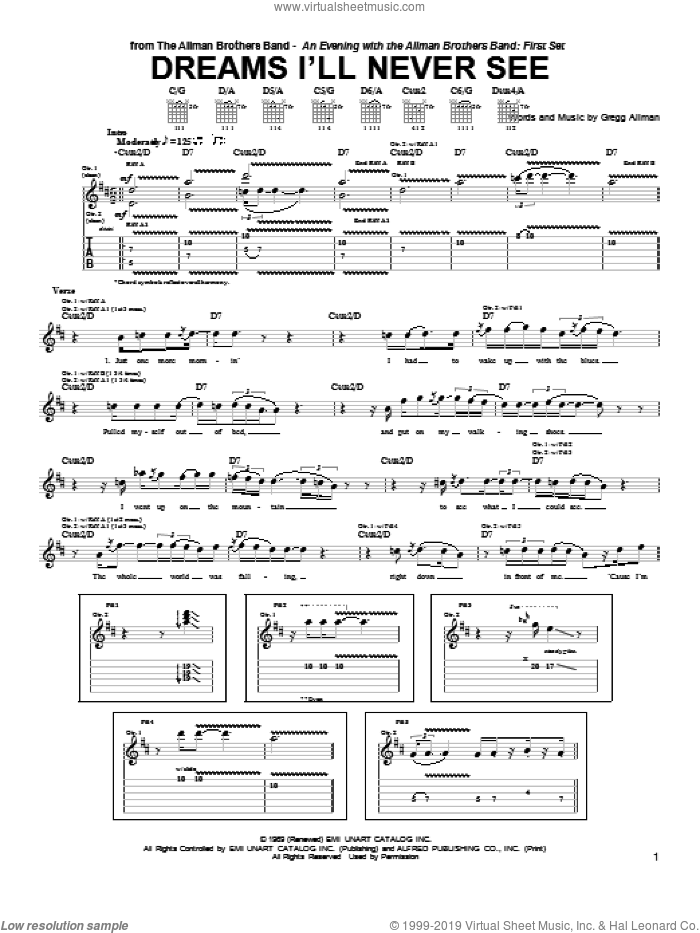 Dreams I'll Never See sheet music for guitar (tablature) by Warren Haynes, Gregg Allman and The Allman Brothers Band, intermediate skill level