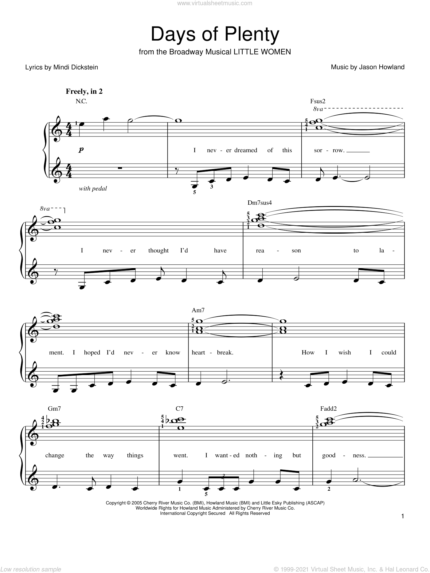 Days Of Plenty sheet music for piano solo by Jason Howland and Mindi Dickstein. Score Image Preview.