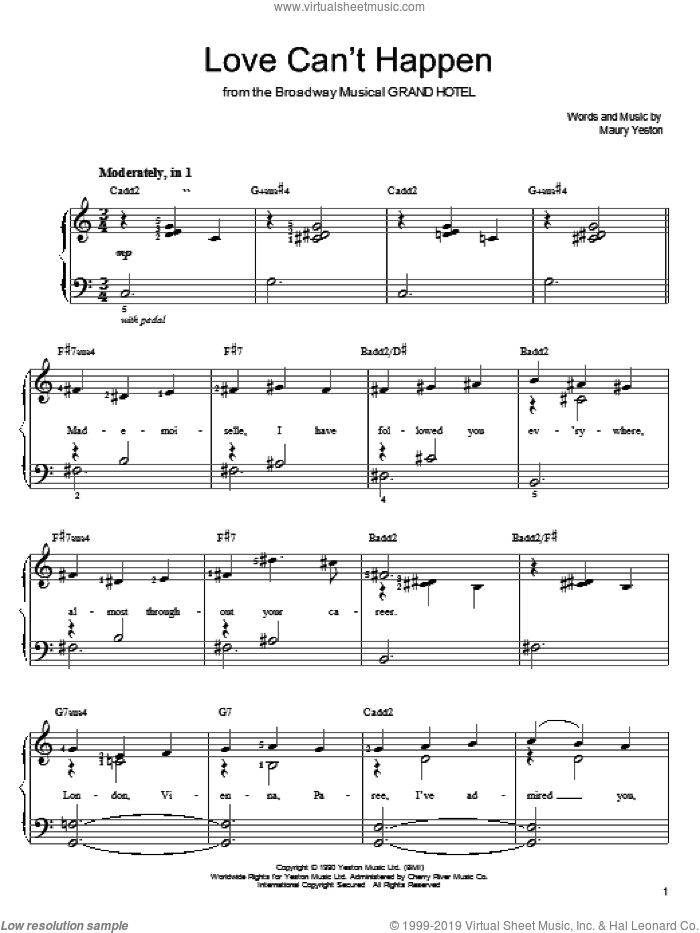 Love Can't Happen sheet music for piano solo by Maury Yeston, easy skill level