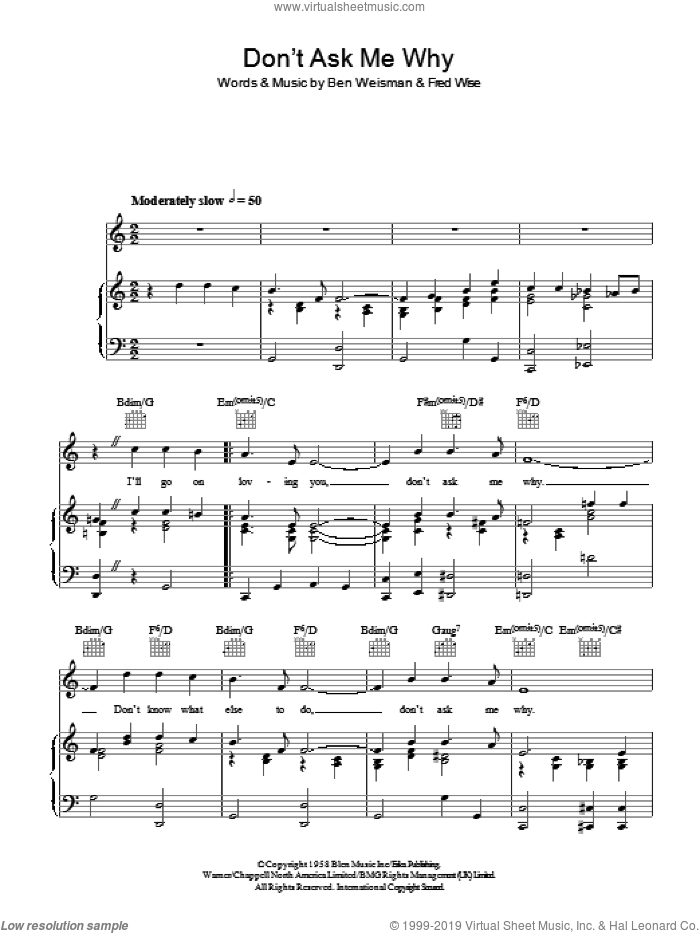 Don't Ask Me Why sheet music for voice, piano or guitar by Fred Wise, Elvis Presley and Ben Weisman. Score Image Preview.