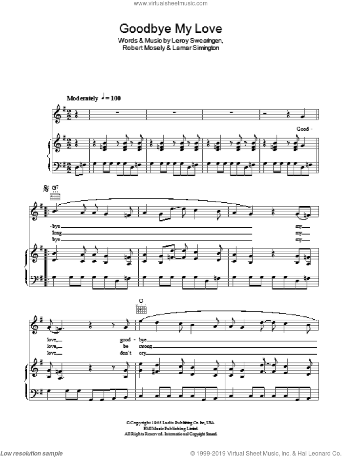 Goodbye My Love sheet music for voice, piano or guitar by The Searchers, Lamar Simington, Leroy Swearingen and Robert Mosely, intermediate skill level