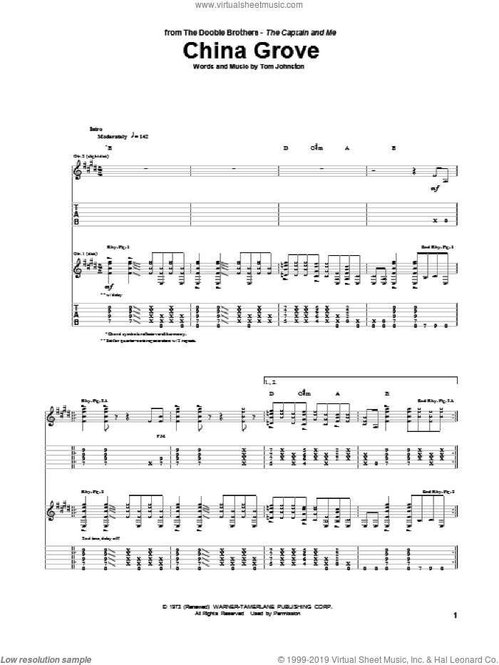 China Grove sheet music for guitar (tablature) by The Doobie Brothers and Tom Johnston, intermediate skill level