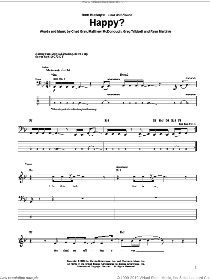 Happy? sheet music for bass (tablature) (bass guitar) by Ryan Martinie