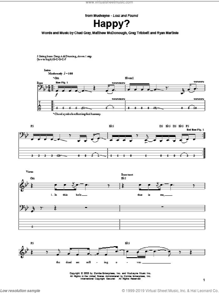 Mudvayne happy? Sheet music for bass (tablature) (bass guitar).