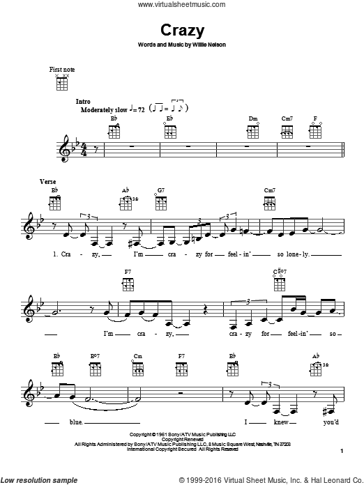 Crazy sheet music for ukulele by Patsy Cline