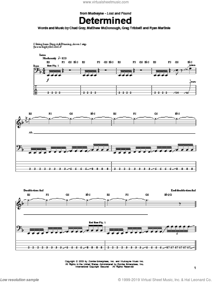 Determined sheet music for bass (tablature) (bass guitar) by Ryan Martinie. Score Image Preview.