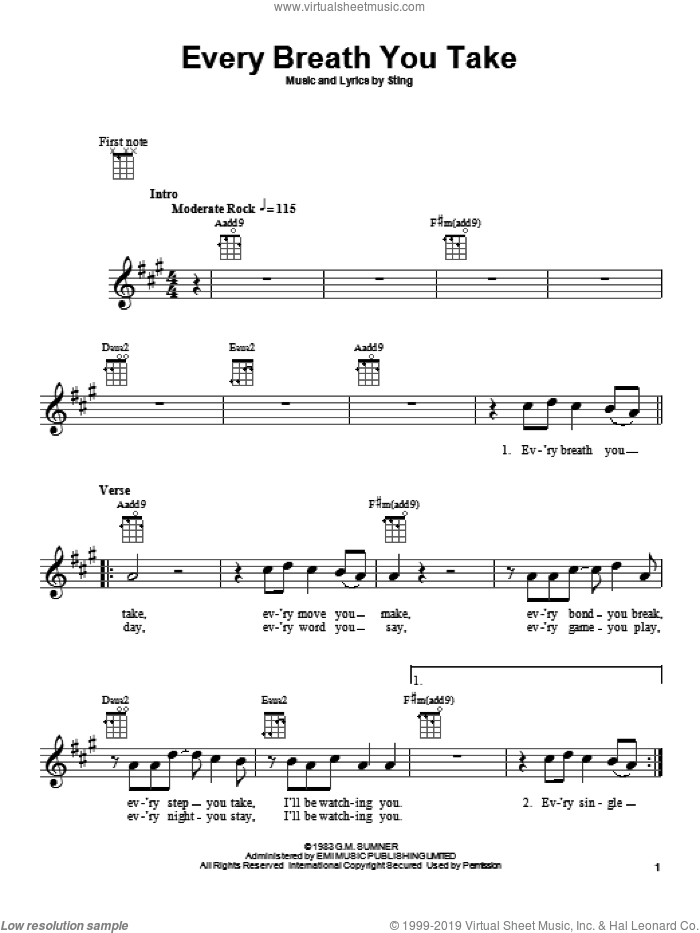 Every Breath You Take sheet music for ukulele by The Police