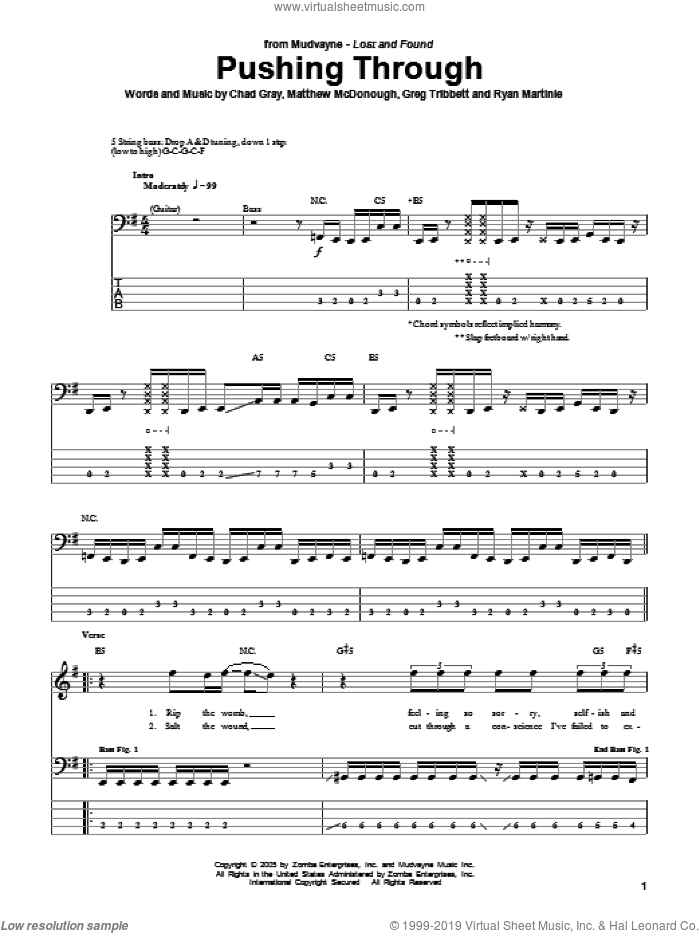 Pushing Through sheet music for bass (tablature) (bass guitar) by Mudvayne, intermediate. Score Image Preview.