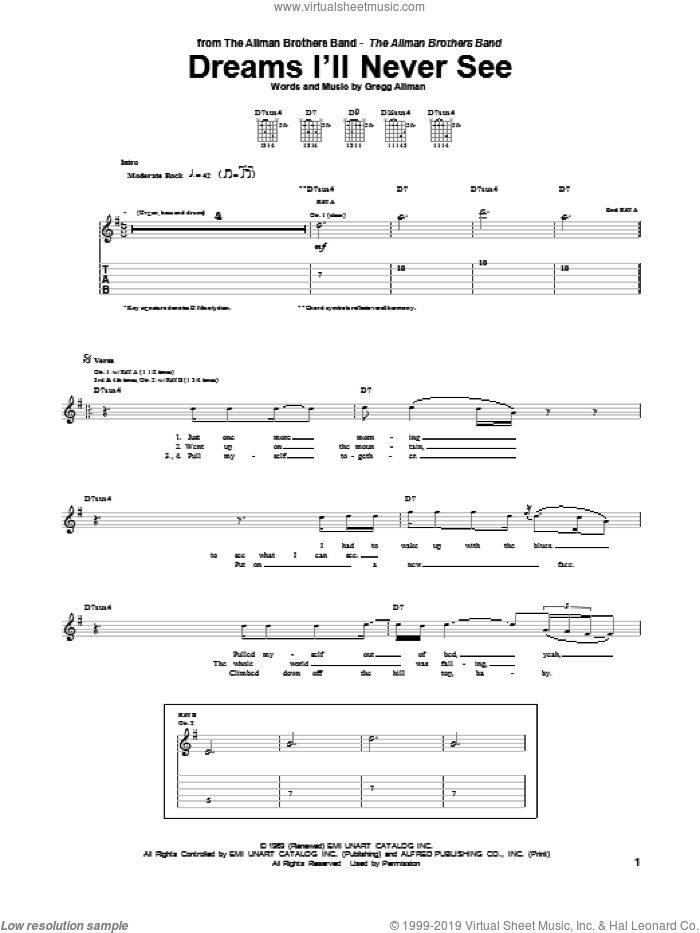 Dreams I'll Never See sheet music for guitar (tablature) by Allman Brothers Band, Duane Allman, Gregg Allman and The Allman Brothers Band, intermediate skill level
