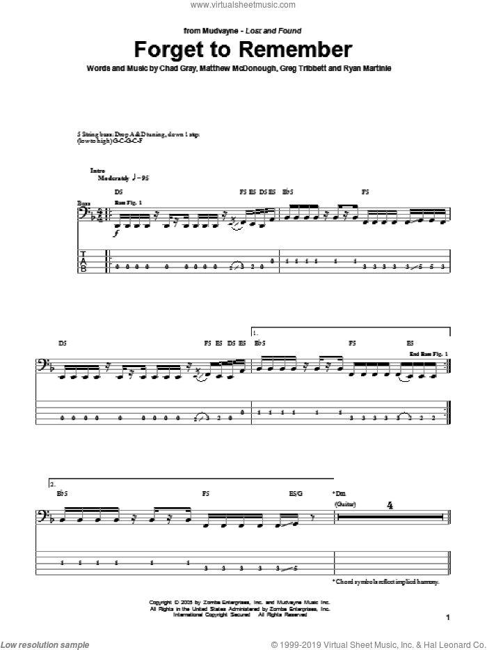 Forget To Remember sheet music for bass (tablature) (bass guitar) by Ryan Martinie. Score Image Preview.