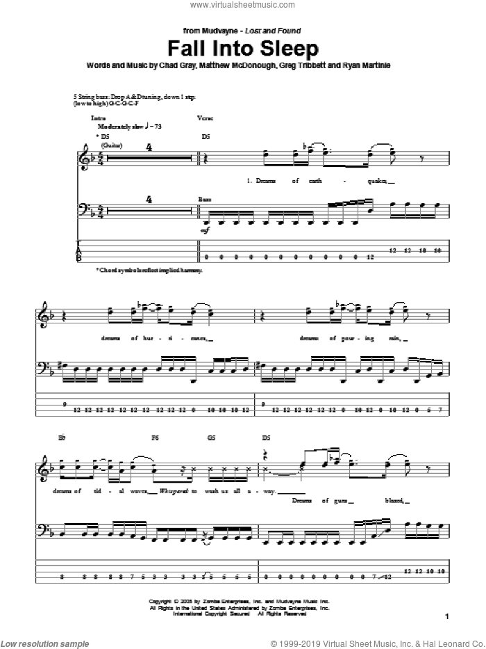 Fall Into Sleep sheet music for bass (tablature) (bass guitar) by Ryan Martinie. Score Image Preview.