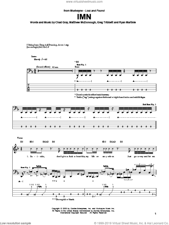 IMN sheet music for bass (tablature) (bass guitar) by Mudvayne, intermediate. Score Image Preview.