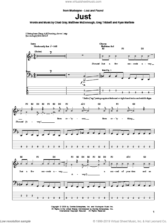 Just sheet music for bass (tablature) (bass guitar) by Mudvayne, Chad Gray, Greg Tribbett, Matthew McDonough and Ryan Martinie, intermediate skill level