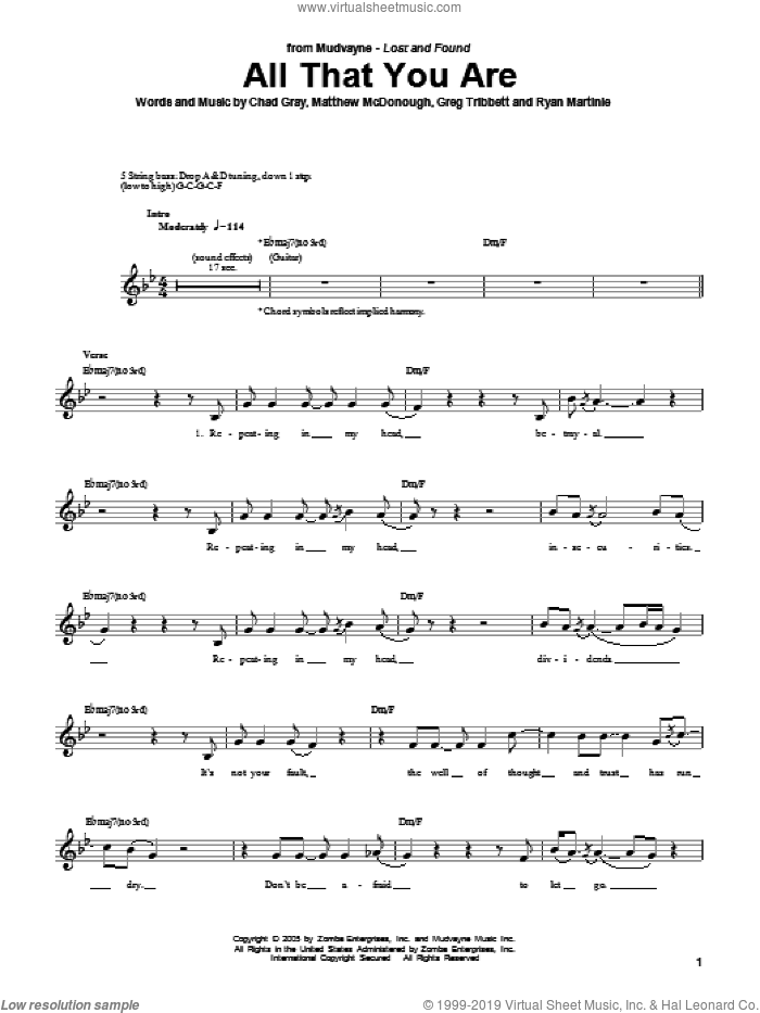 All That You Are sheet music for bass (tablature) (bass guitar) by Mudvayne. Score Image Preview.