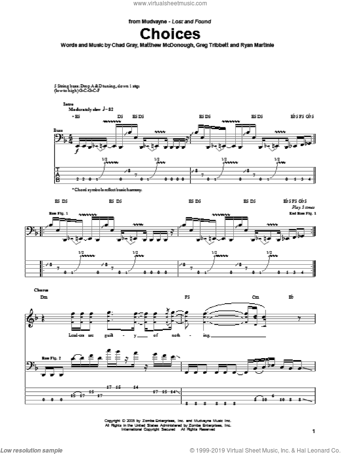 Choices sheet music for bass (tablature) (bass guitar) by Ryan Martinie. Score Image Preview.