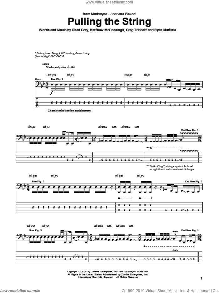 Pulling The String sheet music for bass (tablature) (bass guitar) by Ryan Martinie