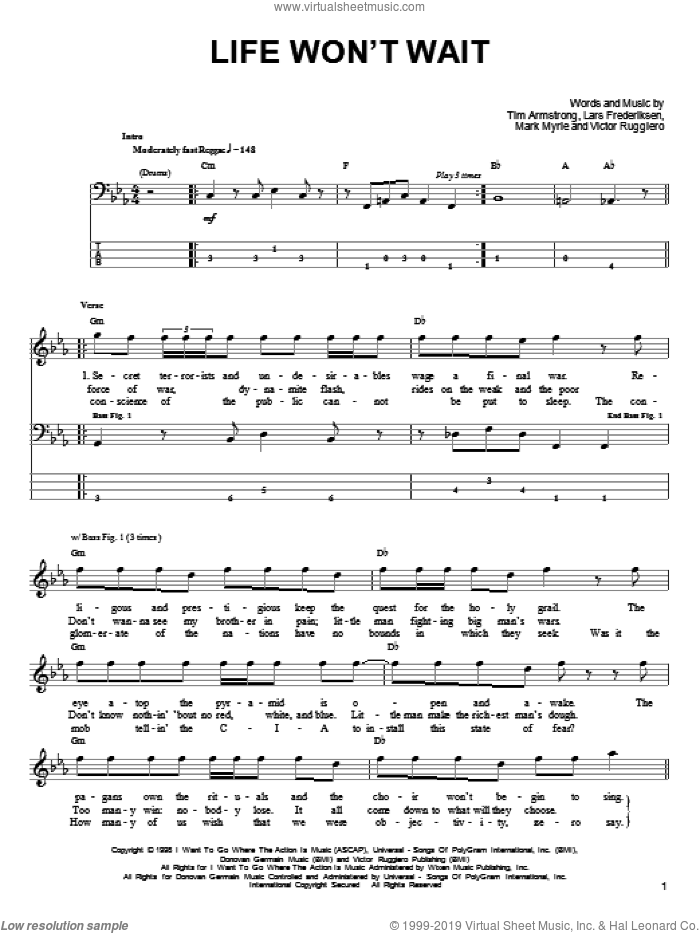 Life Won't Wait sheet music for bass (tablature) (bass guitar) by Rancid, Lars Frederiksen, Mark Myrie, Tim Armstrong and Victor Ruggiero, intermediate. Score Image Preview.