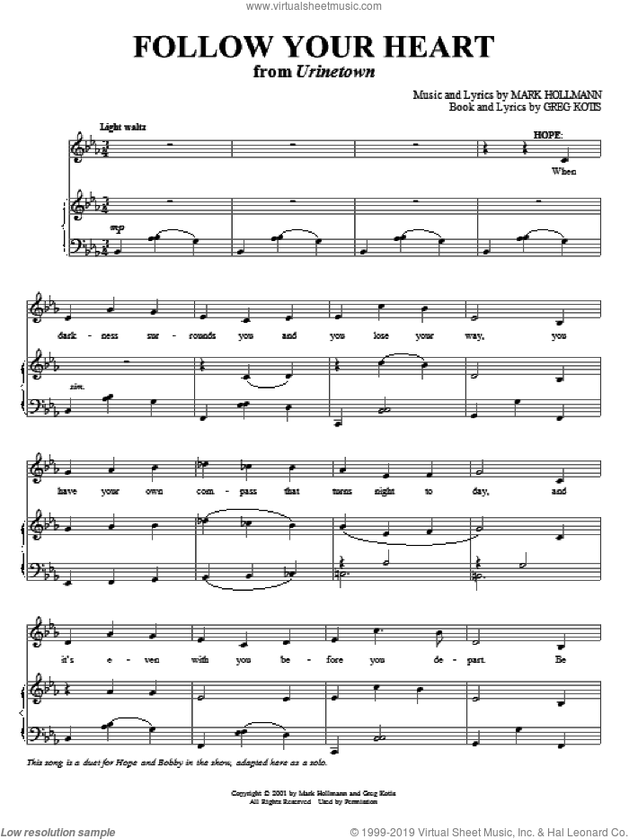 Follow Your Heart sheet music for voice and piano by Mark Hollmann and Greg Kotis, intermediate voice. Score Image Preview.